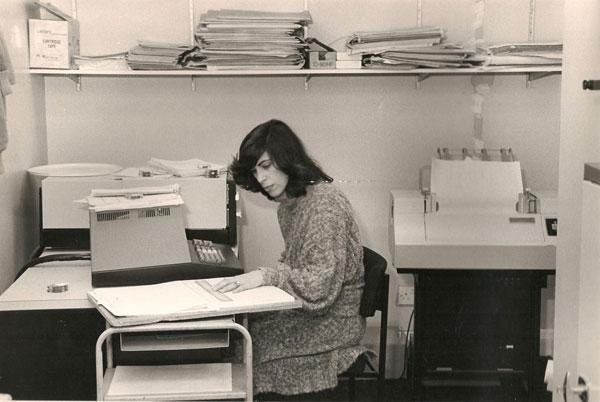 Caroline with Haymarket's first computer