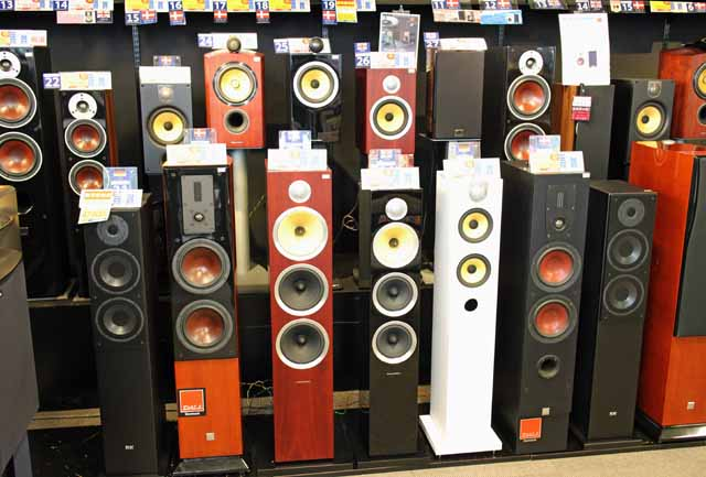 Huge selection of speakers in Bic Camera