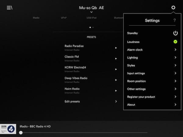 Naim Mu-so Qb settings menu